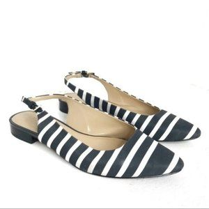 Talbots Navy and White Striped Strapped Flats 7.5